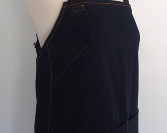 Heavyweight Denim Japanese Apron, Adjustable, Denim Garden Apron, Denim Artist Apron, Heavy Weight Apron, Heavy Duty Apron