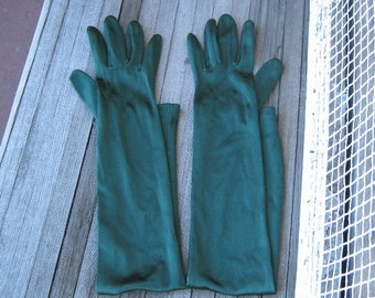 Long Forest Green Gloves - Above-Elbow Shimmery Green Gloves - Stretchy, Small-Medium Green Opera Gloves - Green Burlesque/Costume Gloves