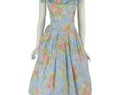 80s Floral Dress | Garden Party Full Skirt | Cotton Tea Length Dress - med, lg
