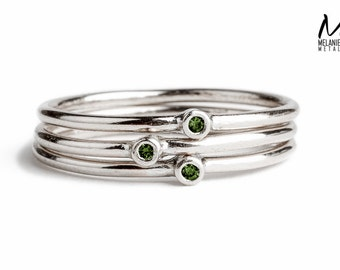 Diamond Stackers - Green Diamond stacking skinny rings in Sterling Silver - Made to order in your size - Real diamond rings