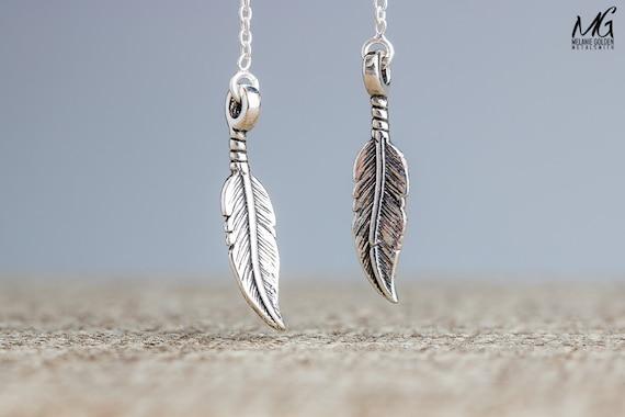 Feather Threader Earrings - Ear Thread Earrings - Sterling Silver Long Chain Earrings - Front Back Earrings - Minimal feather Earrings