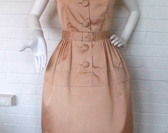 1950's-1960's Champagne Pink Belted Peplum Cocktail Dress- Vicky Vaughn Juniors