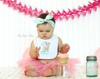 Floral Shabby Chic Embroidered Birthday Bib