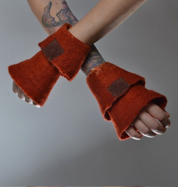 Felted Wool Gloves - Wool Gloves - Nuno Felted Gloves - Gift for her - Winter Accessories - Gloves