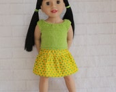 Cool Afternoon Green Knitted Top Yellow & Green Skirt - Dolls clothes to fit Australian Girl dolls