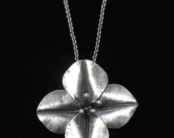 Fold Formed Silver Blossom Pendant