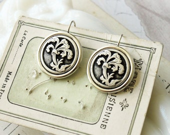 Art Nouveau Earrings, Vintage Button Earrings Austrian, Button Jewelry, Upcycled Jewelry veryDonna