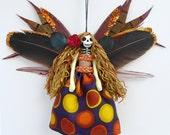 Day of the Dead Ornament, dead fairy peg doll, Dias de Muertos fairy decoration