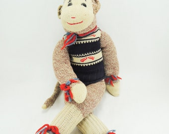 "Vintage Sock Monkey, Handmade 18"" Long, Navy Blue Ski Sweater with Matching Hat, Button Eyes, Soft Cotton Sock Toy, 1960s Mid Century Doll"