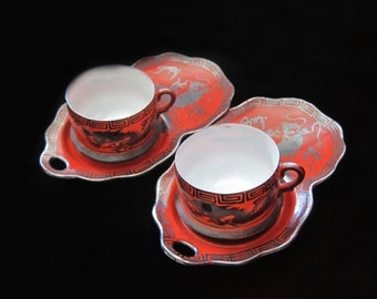 Nippon Cup Set Dragon Red Hand Painted Teacup Teacups Porcelain Serving Cup and Saucers Dragons