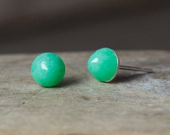 Chrysoprase Earrings, Chrysoprase Stud Earrings, Gold Stud Earrings, Silver Stud Earrings, Simple Earrings, Stud Earrings, Gemstone Studs