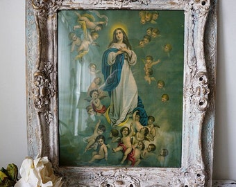 Painted picture frame Religious Mary with cherubs antique lithograph French Santos framed antique art wall hanging decor anita spero design