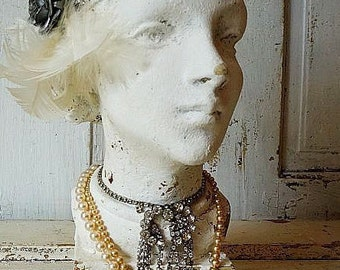 Flapper girl bust statue French chic painted distressed shabby cottage chic lady figure head rhinestone embellished decor anita spero design