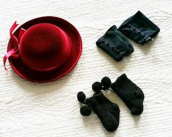 Vintage American Girl Doll Velvet Brimmed Hat, Tartan Chaps, and Tasseled Boot Socks Accessory Set, Olives and Doves