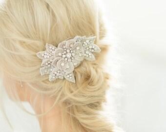 Bridal Hair Comb Wedding Accessory Crystal Beaded Silver Flower Leaf & Vine Applique Rhinestone Trim Headpiece, Camilla Christine EVANGELINE