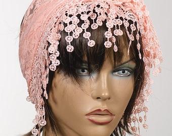 SALMON Lace Scarf with fringe. Spring and Summer Turban with fringe. New season. Valentine beach headband bandana.