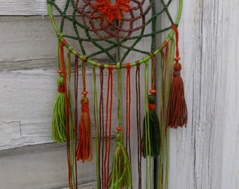Crocheted Boho Dreamcatcher Autumn, with tassels, wallhanging homedecor