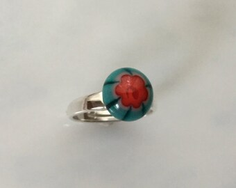 Teal Red Flower Dichroic Glass Ring, Fused Glass Jewelry, Sterling Silver Adjustable Ring