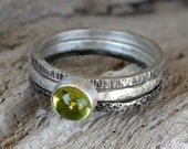 Peridot stacking rings set of 3 - Green silver ring bezel  - August Birthstone, Mothers Ring, Birthstone Jewelry - Custom made ring
