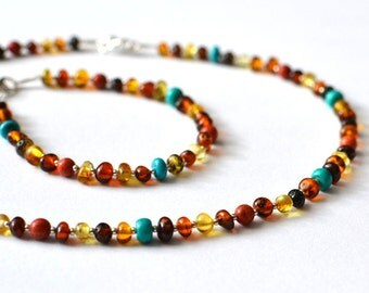 Amber Set / Amber Necklace and Amber Bracelet / Amber, coral and turquoise jewelry