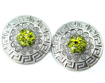 Aztec Earrings Green Peridot Sparkle Vintage Mexico Peruvian Style Jewelry For Women Silver And Green Clip On