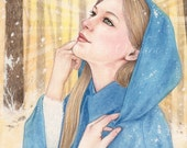Magical Winter Morning - colored pencil drawing, 7x5 open edition art print