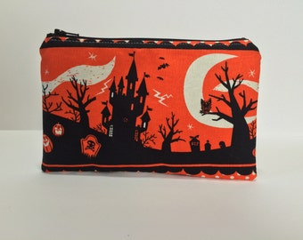 Haunted Graveyard Zipper Pouch. Black, Gray Dots. Hearse, Cemetery. Pencil Pouch, Makeup Bag. Travel. Toiletries. Coin Pouch. Interfacing.
