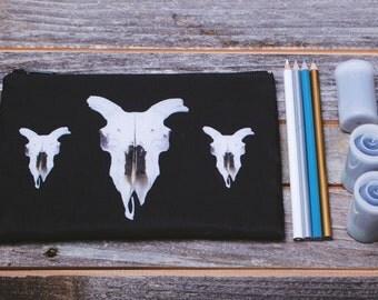 Sheep Skull Pattern Zippered Makeup or Pencil Bag
