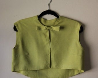 Lunar Lime Cropped Top with Bow || 1960s || Size Medium