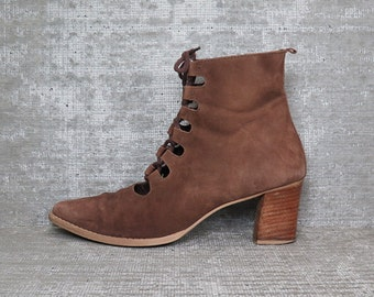 Vtg Brown Nubuck Leather Cutout Laceup Boots 9.5
