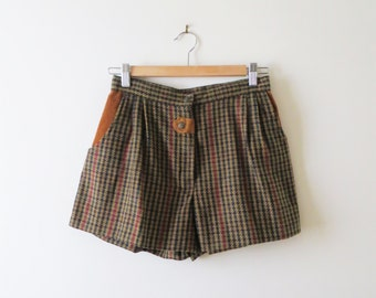 Vintage Houndstooth Shorts High Waist Preppy Daisy Dukes Women's US Size Small 2 XS-S