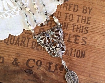 Victorian Assemblage Necklace - saint necklace rosary necklace silver statement necklace