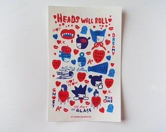 HEADS WILL ROLL - sticker sheet