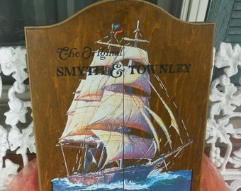 Dart Cabinet - Nautical, Painted Tall Ship, Dart Board/Darts- US Made - Vintage - Fabulous!