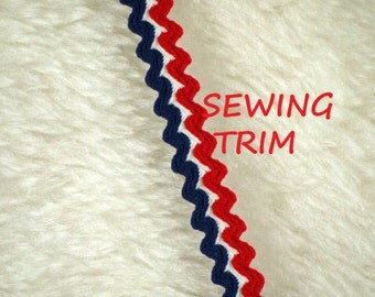 1 YARD, 1950s Vintage, RED White Blue 1/2 Inch, Double Rick Rack Sewing Trim, Stripes, L155