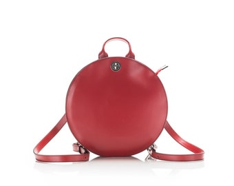 Leather backpack,backpack women,red,leather rucksack,mini backpack purse,everyday backpack,circle  backpack FREE SHIPPING