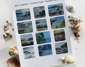 REDUCED 2017 A4 art wall calendar from original watercolours of the coast of Cornwall by Sophie Penstone, seascape painting, Cornish coast