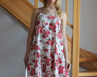 Linen dress Floral linen dress Multicolor linen dress Beach linen dress Oversize linen dress Women White Orange Light Pink dress