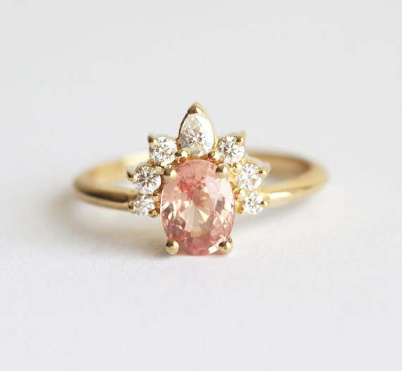 gold sapphire ring diamond sapphire ring peach engagement. Black Bedroom Furniture Sets. Home Design Ideas