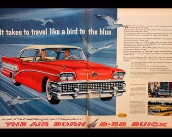 1957 - 1958 Buick B 58 Ad - Sedan - Red - 4 Door - Wall Art - Home Decor - Garage - Man Cave - Retro Vintage Car & Auto Advertising