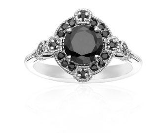 Deco White Gold & Black Diamond Ring - Engagement Vintage Wedding Art Deco