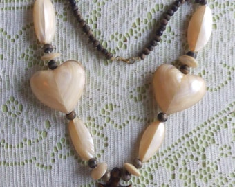 Vintage 1960's Mother Of Pearl And Wooden Beaded Necklace