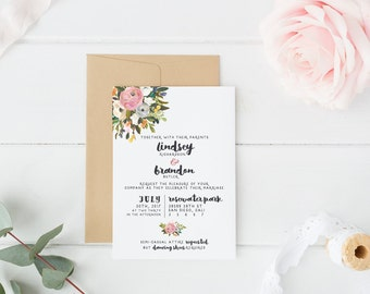 Printable Wedding Invitation Suite - Custom, DIY, Watercolor, Painted, Boho, Floral, Flowers, Rustic, Chic, Romantic (Wedding Design #76)