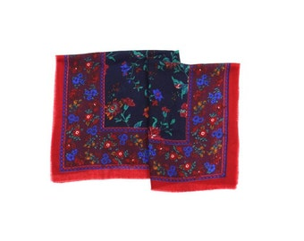 floral print scarf / colorful flowered scarf / red printed scarf