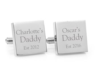 My Daddy Engraved personalized square silver cufflinks - personalised Christmas gift for Dad (stainless steel cufflinks)