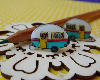 Mini Camper RV Stud Shrinky Dink Plastic Earrings