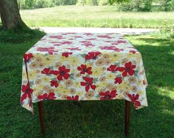 Floral tablecloth vintage red yellows