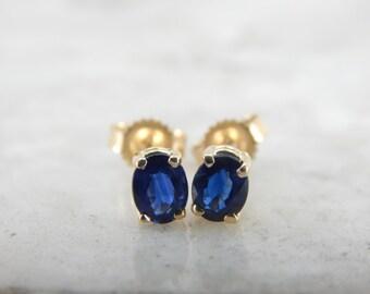 September Birthstone, Dark Blue Sapphire Stud Earrings 37WJYV=R