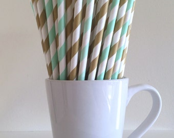 Mint and Gold Paper Straws Mint Green and Light Gold Striped Party Supplies Party Decor Bar Cart Cake Pop Sticks Graduation Graduation