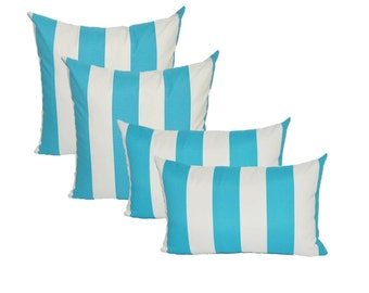 "Set of 4 - 17"" Square & Rectangle / Lumbar Cabana Cancun Blue and White Stripe Indoor / Outdoor Decorative Throw Pillows"